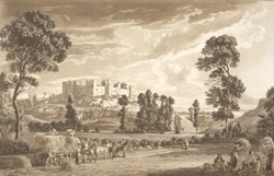 Part of the town and castle of Ludlow in Shropshire